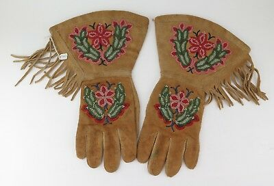 Native American Indian Northern stitched inside cuff gauntlets. PROVENANCE