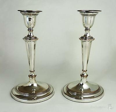 Superb Large PAIR George III OLD SHEFFIELD PLATE Oval CANDLESTICKS c1795