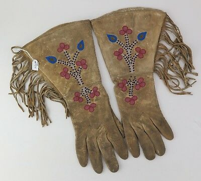 Native American Indian Cree gauntlets (glass and metal beads). PROVENANCE
