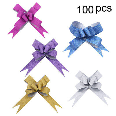 100*Gift Wrapping Flower Basket Wedding Glitter Pull Bows Gift Knot String Bows