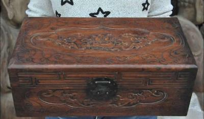 Old China Huanghuali Wood Carve Longevity peach Jewel Case Box Storage container