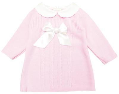 Girls Dress Knitted with Bow Collared Knit Pink Newborn Baby to 9 Months