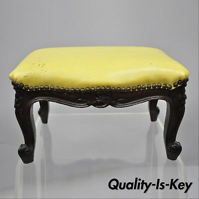 French Country Louis XV Style Carved Walnut Small Petite Footstool Ottoman