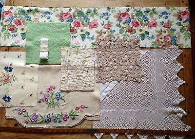 Vintage Antique Quilt Lace Crochet Embroidered Fabric Remnants slow stitching a