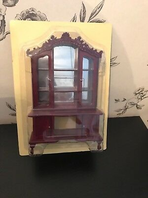 Victorian Dolls House Collector Bureau Cabinet Wall Unit With Mirror New In Box