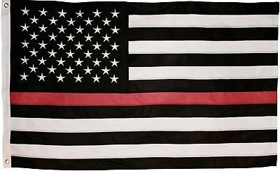 Thin Red Line Firefighter US American Flag 3'x5' Polyester Fireman