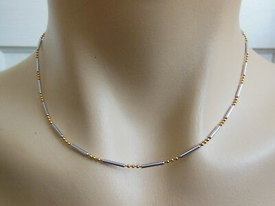 """14k Italian Solid Yellow & White Gold Bead & Bar Necklace Chain 16.5""""L 4.5 Grams"""