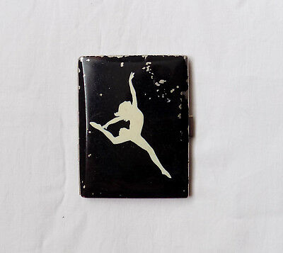 Beautiful Vintage Enamel Cigarette / Card Case with Ballet Dancer