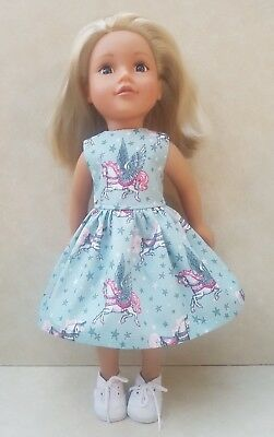Handmade Doll Clothes fit Designafriend Mint & Pink Unicorn & Stars Dress