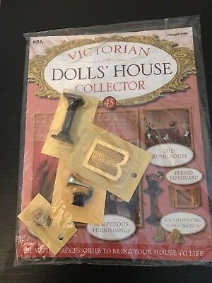 Victiorian Dolls House Coll Issue 45 Gramaphone Bookends Fireguard Plant Stand