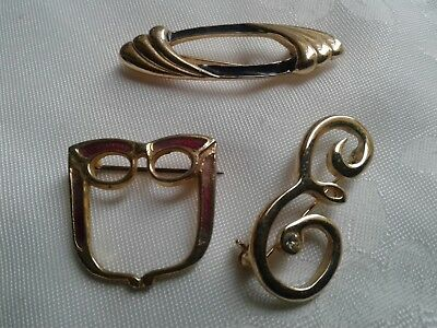 3 X Beautiful Vintage Gold Tone Brooches ( 1 X Is Signed Exquisite)