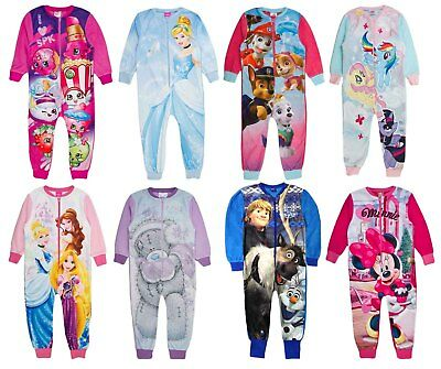 Kids Boys Girls Fleece Character All In One Onezee Pyjamas Childrens Pj's