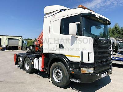 Scania 144 460 V8 6X2 TAG AXLE TRACTOR UNIT, FITTED WITH 2002 FASSI F450XP CRANE
