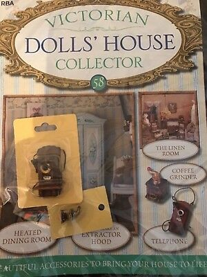 Victiorian Dolls House Collector Issue 58 Wall Telephone And Coffee Grinder