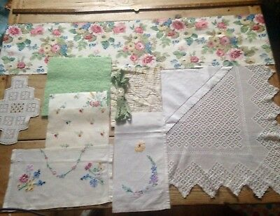 Vintage Antique Hand Stitched Quilt Lace Crochet Embroidered Fabric Remnants b