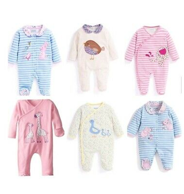 Baby Girl Sleepsuit New Ex JoJo Maman Bebe Applique NB 0 3 6 9 12 18 M RRP £20