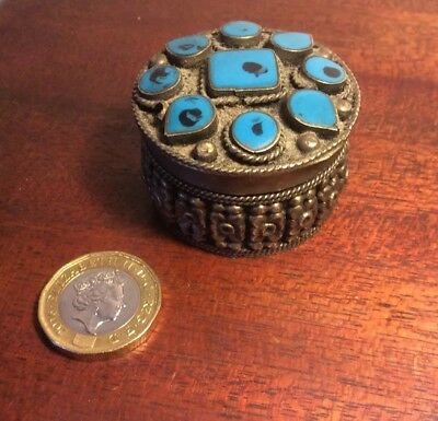Vintage Turquoise Stone And Silver Plated Round Box And Lid,  Pills,sweets Etc