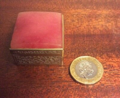 Vintage  Pink Stone And White Metal Square Box And Lid,  Pills,sweets Etc