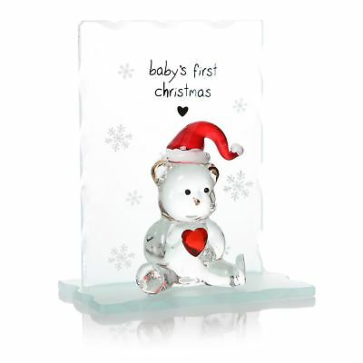 Baby's First Christmas Teddy Bear Glass Ornament in Gift Box