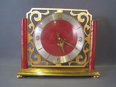 Vintage Richard 15 Jewels 8 Days Swiss Clock Red And Gold Wind-Up Works