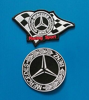 2 Lot MERCEDES-BENZ RACING  Embrodered Iron Or Sewn Patches W/ Free Shipping
