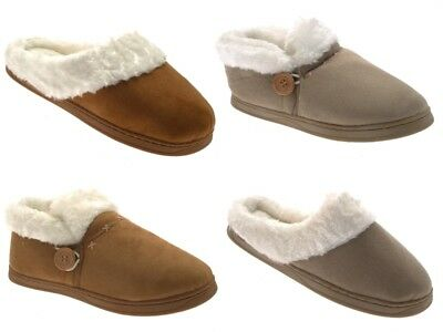 Womens Faux Suede Fur Lined Slipper Slip On Mules Warm Booties Ladies Gift Size