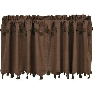 Brown Rustic & Lodge Kitchen Curtains VHC Carrington Tier Pair Rod Pocket