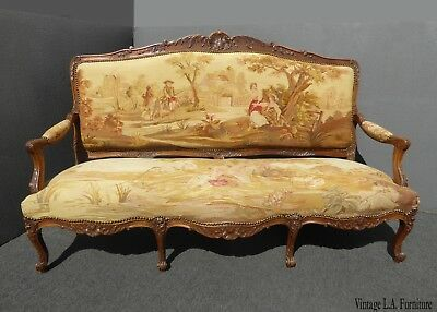 """Antique French Louis XV Walnut Gold Tapestry Settee Canape """"Country Setting"""""""