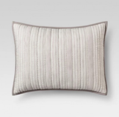 Gray Stitched Stripe Pillow Sham - Threshold