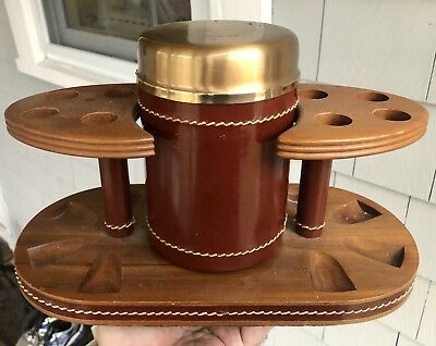 Vintage DUK-IT Wooden PIPE HOLDER & LEATHER HUMIDOR - Walnut Stand McDonald