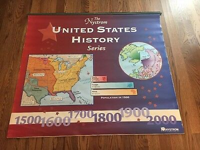 Vintage The Nystrom Wall Map United States HISTORY School Pull Down 11 Layers