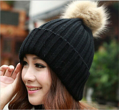 Warm Winter Wool Knit Beanie Large Fur Pom Bobble Hat Knitted Ski Cap D
