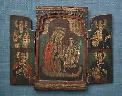 Large Authentic Antique Greek Orthodox Icon Triptych 18th Century Greece