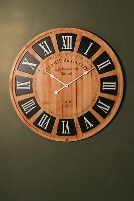 80cm Large Antique Vintage Style Round Wall Clocks French Shabby Chic Wooden