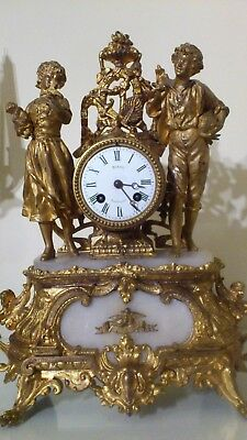 Antique French Gilt Metal & White Stone Figural Mantel Clock.