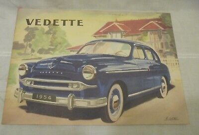 Ancien  Document Catalogue Publicitaire Voiture Ford Vedette Vendôme 1954 D3010