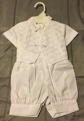 Baby Boys Christening Baptism Suit Outfit Built In Vest & Tie White 0-6 M