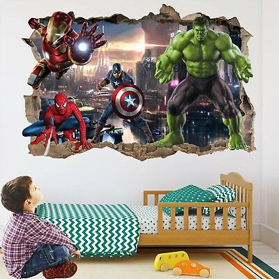 Marvel Avengers Superhero 3d Wall Art Sticker Mural Spiderman Hulk