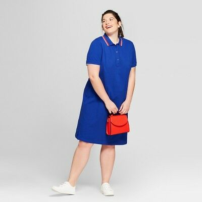 6b6d67c87b420 Ava   Viv Womens Plus Size Polo T Shirt Dress Blue Red White Size XL 2XL