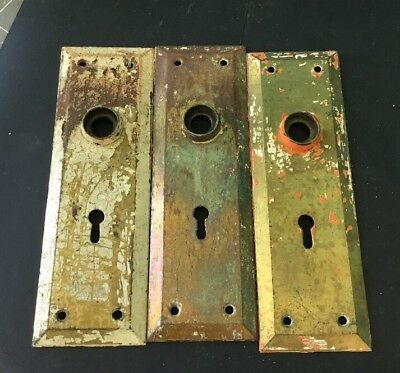 Vtg Door Plate Steel  7 Inches with Skeleton Key Hole (3)
