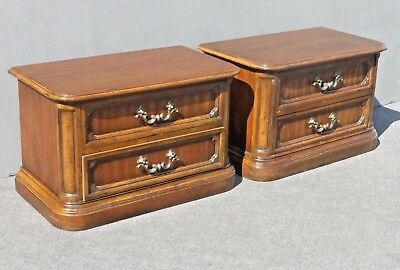 Pair of Vintage Mid Century Drexel Heritage 2 Drawer Night Stands