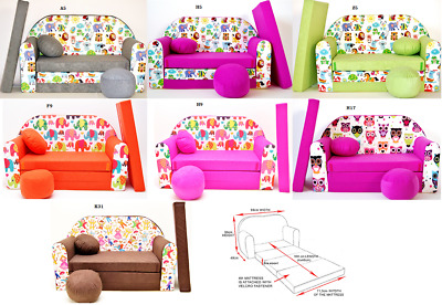 Kids Sofa Bed Sleepover Futon Cotton Cover With Footstool Cushions Animals