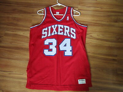 best website 4d80a 75d45 CHARLES BARKLEY 76ERS Sixers authentic sandknit 46 XL small medium jersey  red