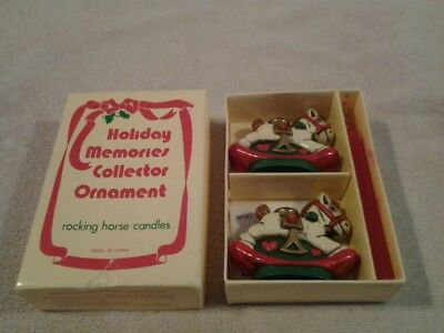 """Vintage Avon 1984 Holiday Memories """"ROCKING HORSE"""" candle holders & candles  NIB"""