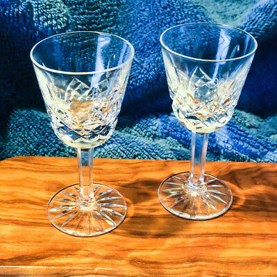 """2 Vintage Waterford """"Lismore"""" Cut Glass Crystal Liquor/Cordial Glasses - MINT"""