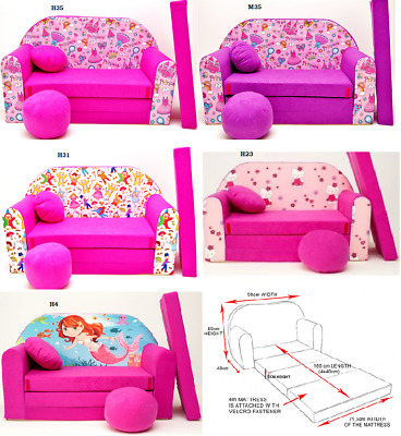 Kids Sofa Bed Sleepover Futon Cotton Cover With Footstool Cushions Pink