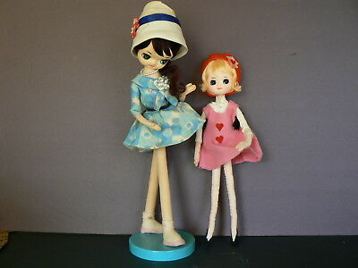 Vintage Painted Stocking Faces Dolls-Japan Label-lot of 2-Holiday Fair 1964