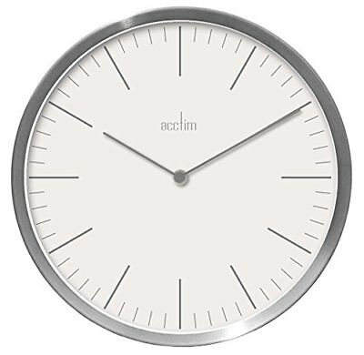 Acctim Carrie Design Brushed Silver Effect Wall Clock White Dial 25cm