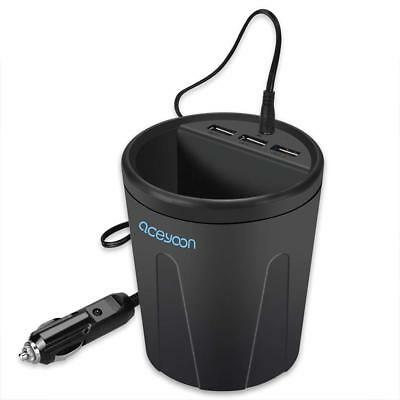 aceyoon 3 Port Car Cup Holder Charger DC 12V / 36W Fast Charge Multi USB...