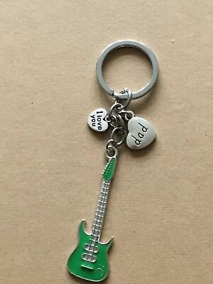Guitar Gift Dad Keyring, Grandad, Uncle, Daddy Grandad, brother 15+ name choice